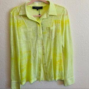 ILSE JACOBSEN Sheer Neon Button Down Shirt